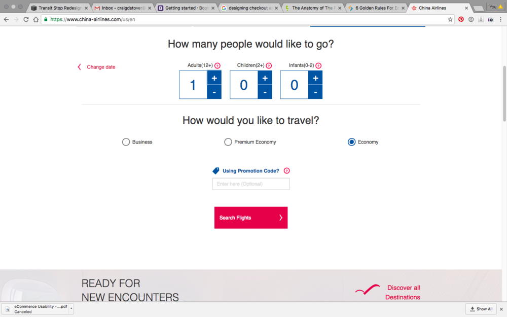 After you select a destination, you're brought to this screen to select passengers and flight class. There's a good deal of wasted space here, and the layout isn't the greatest. The coupon field should be collapsed so as not to tempt users away from the site.