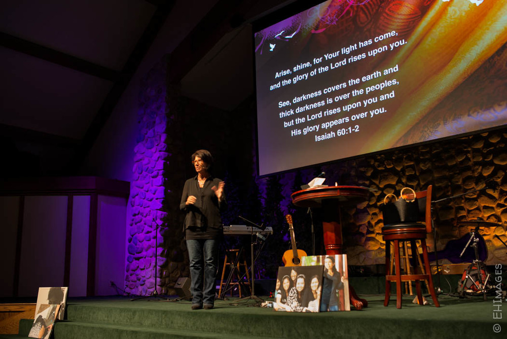 Ginny sharing at Woodman Valley Chapel, CO