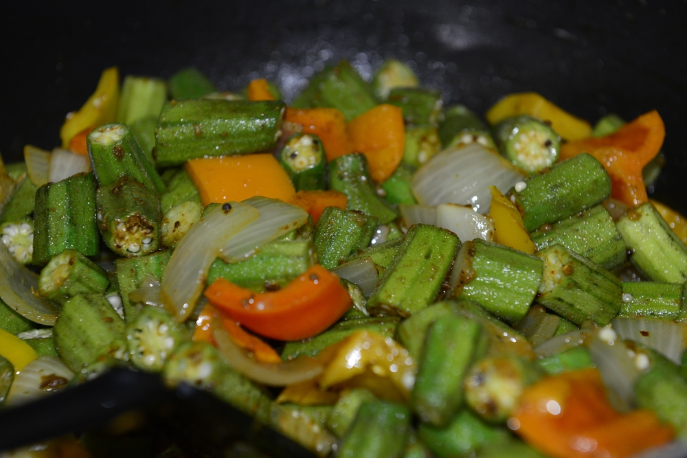 Bhindi Masala Preparation