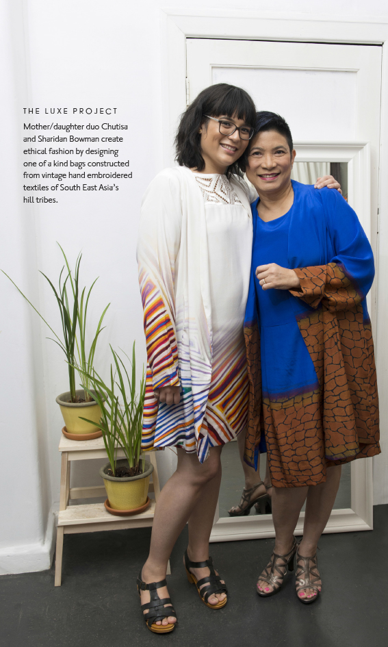Sharidan and Chutisa in silk coat and dress by Indigenous Artists Rosie Tasman and Mary Napangardi Butcher