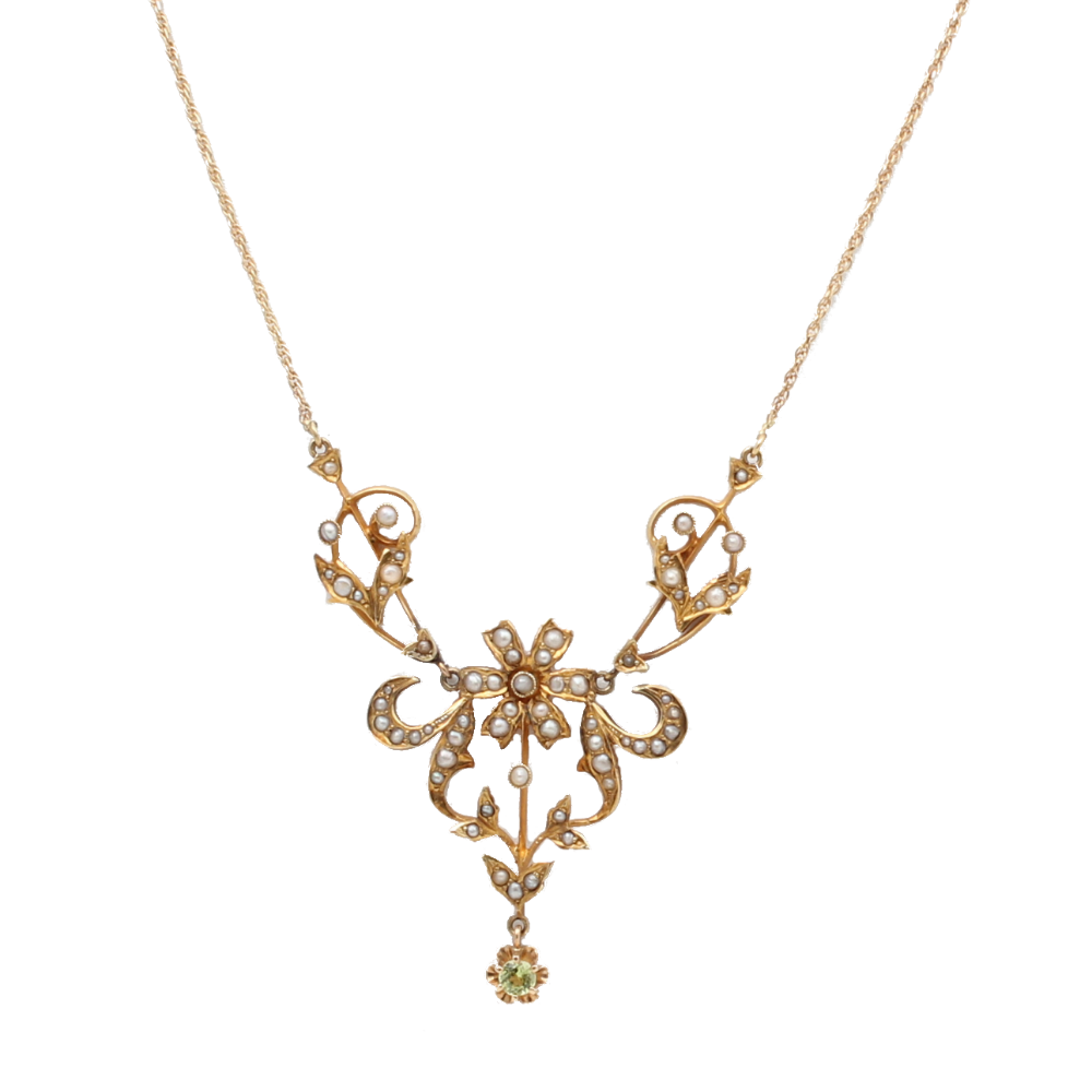 Victorian Seed Pearl and Peridot Necklace