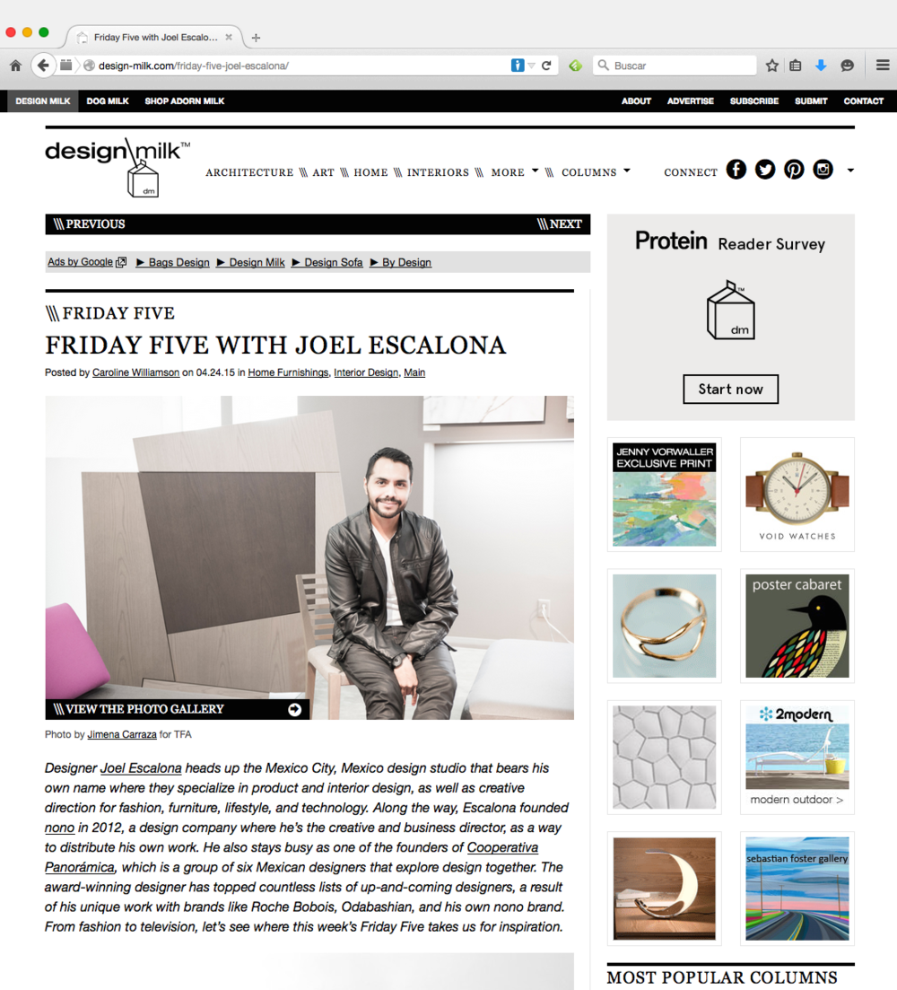 Talking about Diarioshop House of Cards CENTRO diseño | cine | televisión among other thins, we were featured at Design Milk's Friday Five column.