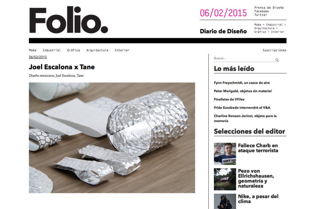 Our TANE collaboration featured in Folio digital design magazine.