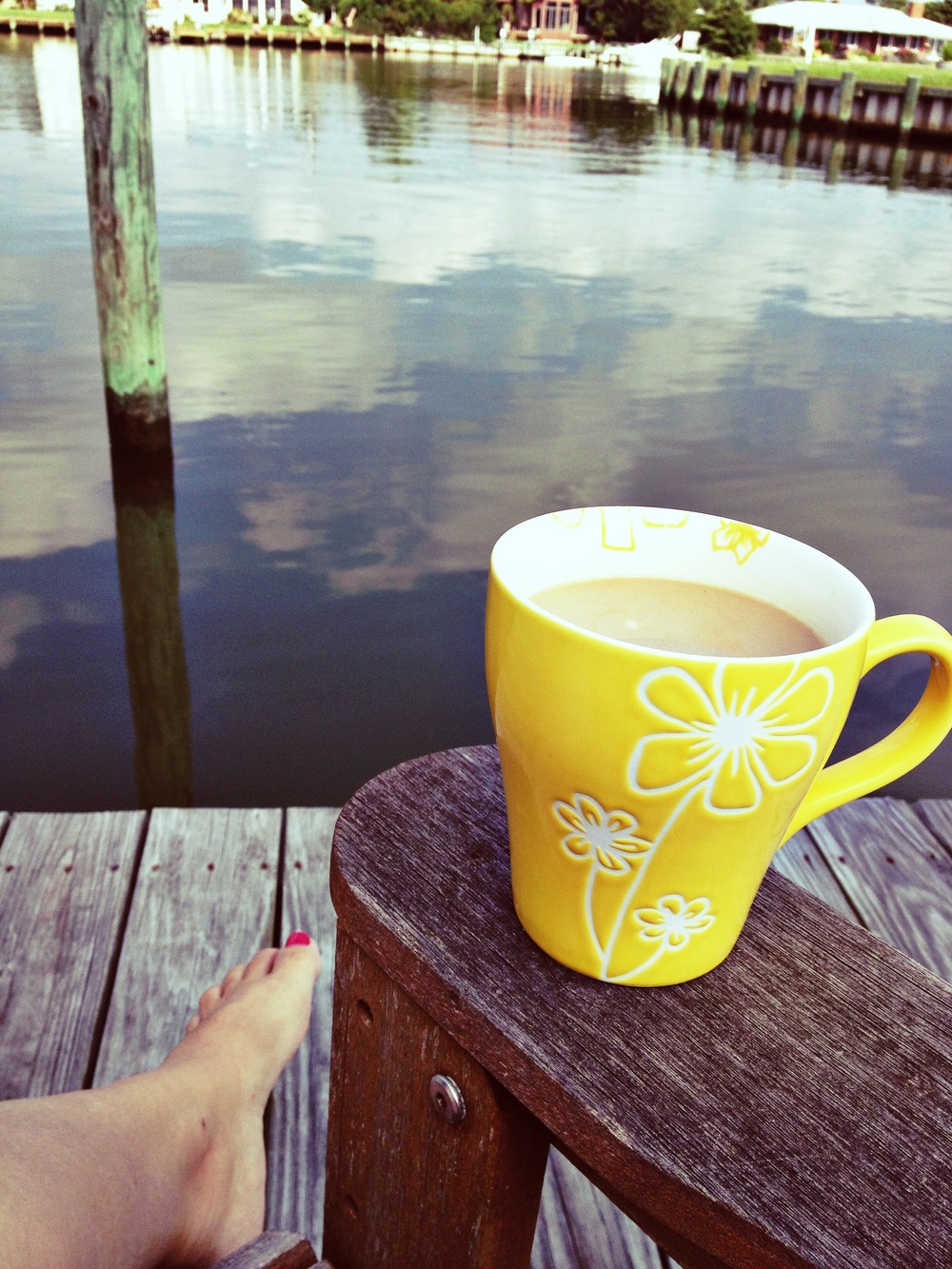 Morning coffee on my dock Ocean City, MD - July 2013
