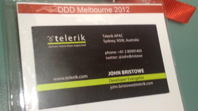 Telerik and Kendo UI at DDD Melbourne — John Bristowe