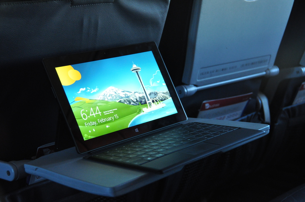 My (new) Surface RT device, sitting very nicely on a tray table.