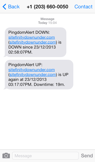 SMS-based notification from Pingdom