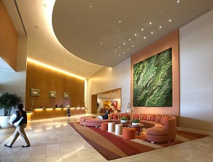 The modern, upscale lobby of the Hotel Irvine