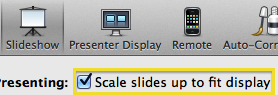 screenshot of Slideshow scale option in Keynote