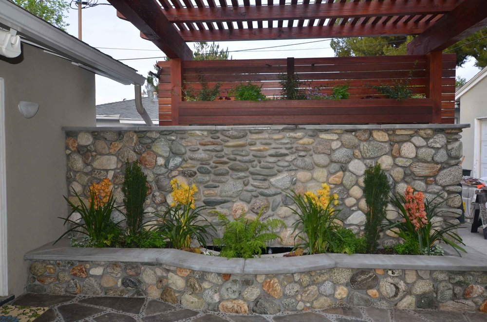 Landscape river rock wall Claremont