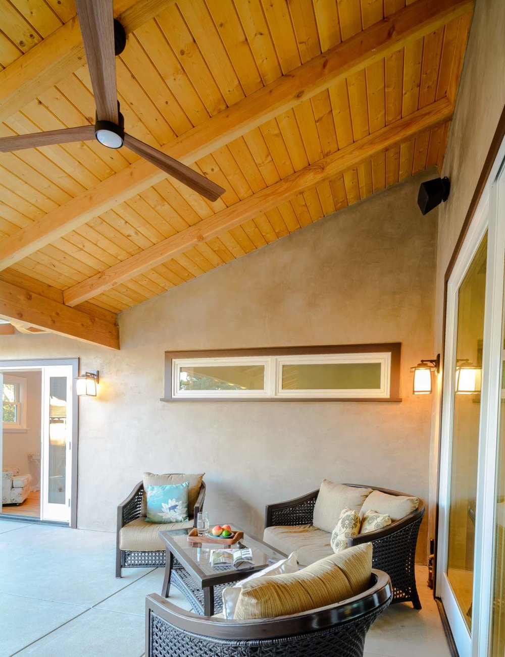 Custom home with wood covered ceiling