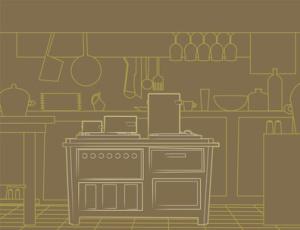 cocina fondo en marron