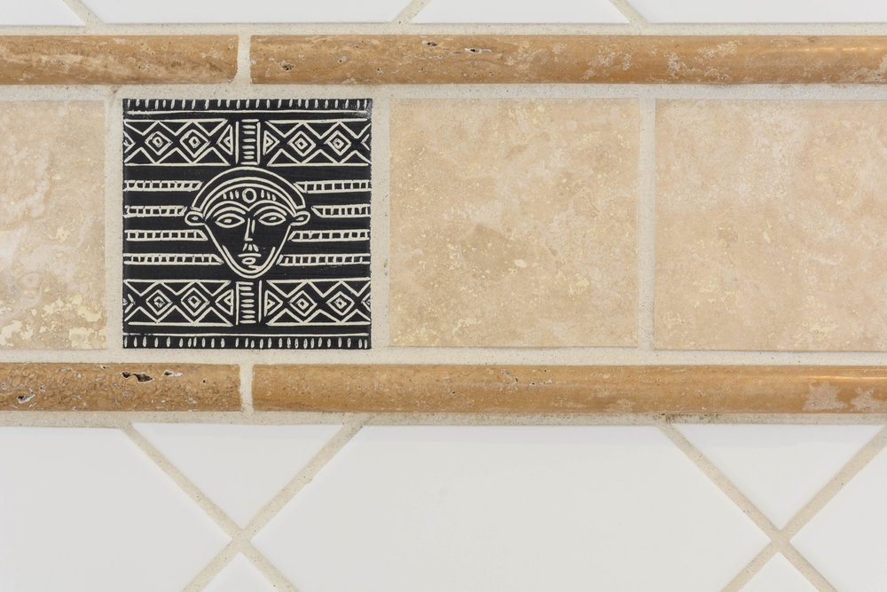 Unique African inspired decorative bathroom wall tile