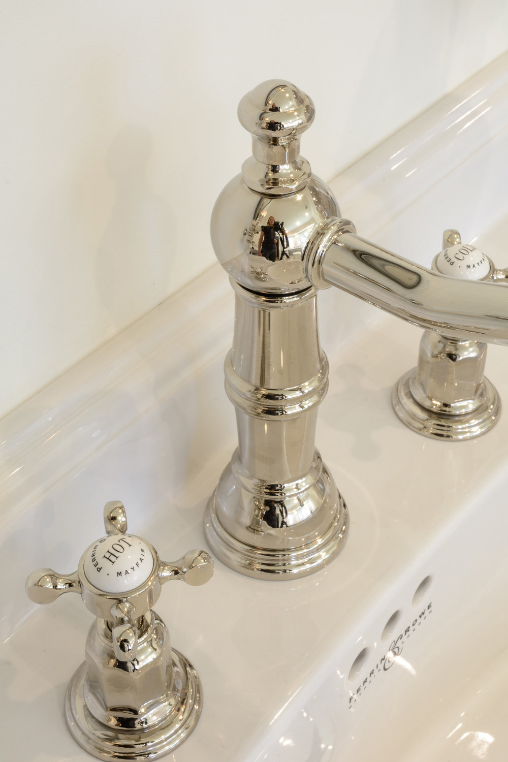 Traditional sink faucet with soft polished nickel finish