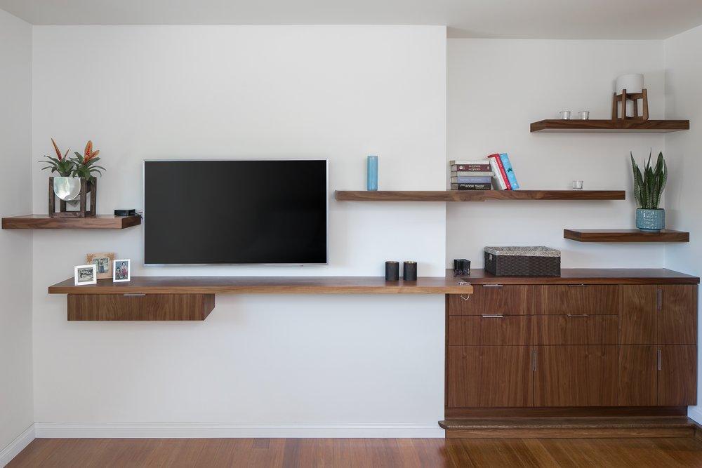 Master Suite TV shelves design