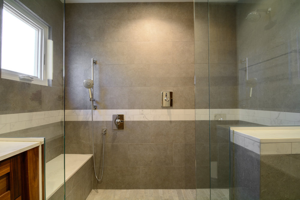 Spacious walk in shower luxurious and modern in its design