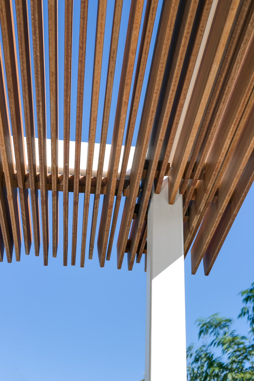 Mid-century modern wood pergola detail