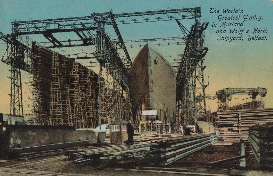 Цветная открытка с изображением «Великих порталов», в которых были построены RMS Titanic & Olympic: верфи Harland & Wolff, Белфаст, 1911