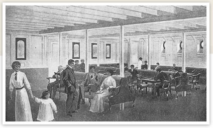Titanic's third class smoking and general room.
