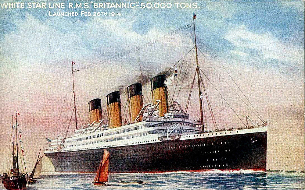 At 50,00 Tons Britannic would be larger than both Olympic & Titanic