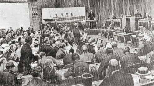 J.B Ismay testifies to the Board of Trade Inquiry in London's Scottish Drill Hall 1912