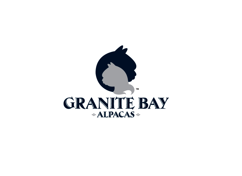 Logo design for Granite Bay Alpacas, a royal pedigree alpaca farm in Granite Bay, California.