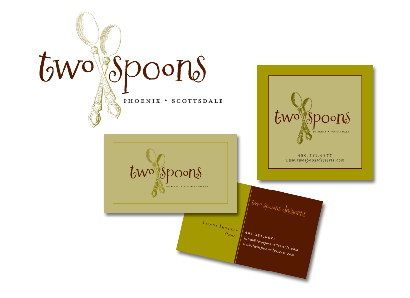 Complete identity package design for Two Spoons includes logo, business cards and bakery box labels.
