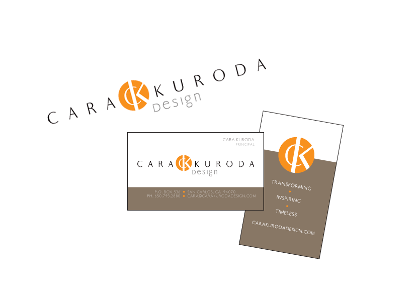 Logo and business card design for Cara Kuroda Design, a small business interior design and architect firm in San Mateo, California.