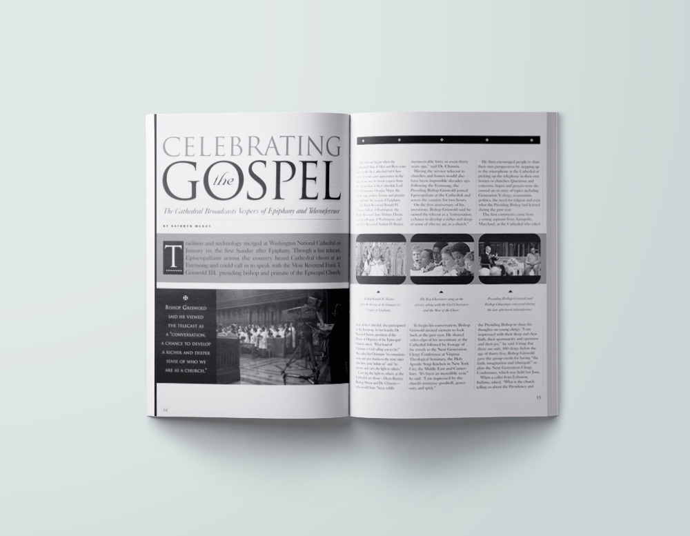 Inside spread of  Cathedral Age  magazine .