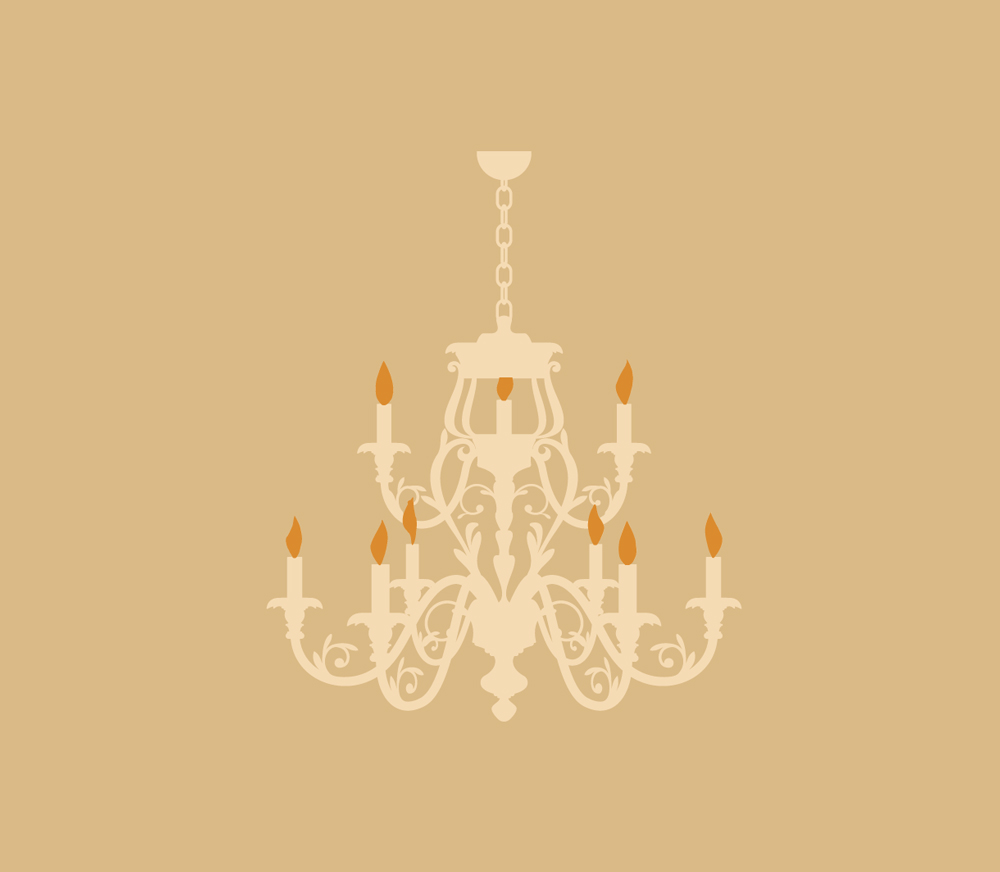Chandalier illustration detail, 20 oz. bottle. Vintage Collection.