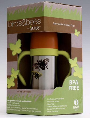 Birds & Bees Collection, 7 oz sippy cup bottles. Bees design.