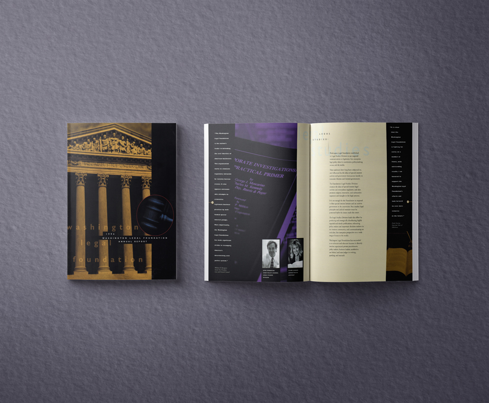 Washington Legal Foundation, Annual Report, Cover & Inside Spread