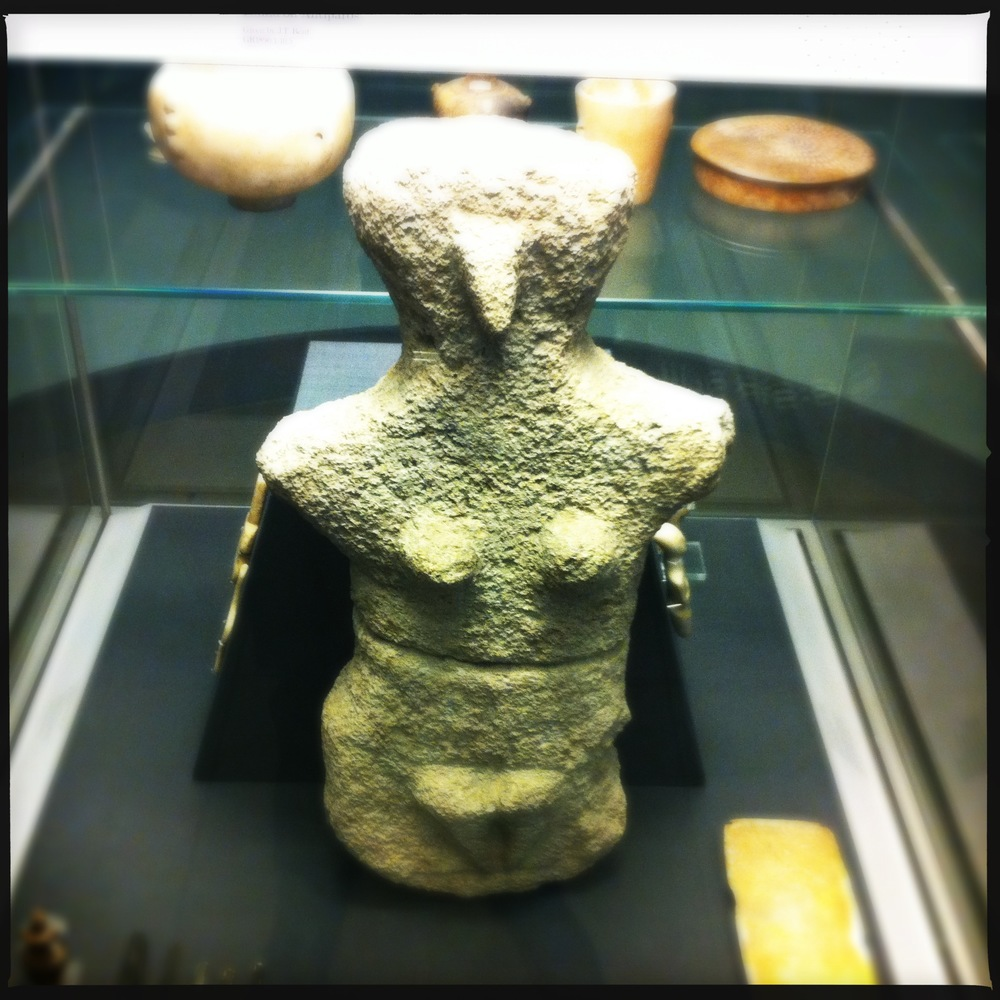Limestone female figure. Probably Late Neolithic, 4500-3200 BC, from Karpathos.