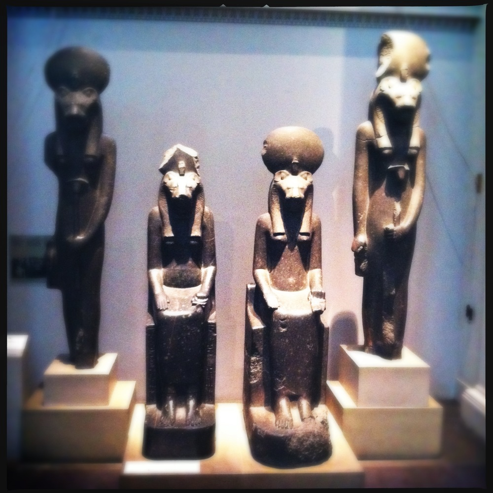 Four black granite figures of the goddess Sekhmet, Eighteenth Dynasty, about 1400 BC