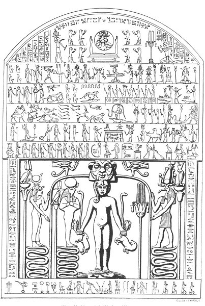 The  Metternich Stela  - At the bottom center we can see Harpocrates, sided by Isis and Thoth, holding tightly lions, serpents and scorpions in his hands.