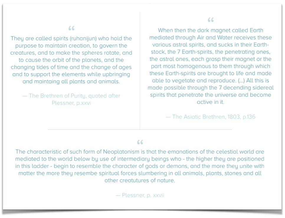 comparison of Neoplatonic thoughts on the 7 ruling planetary spirits amongst the 'Brethren of Purity' and the 'Asiatic Brethren' - click to enlarge