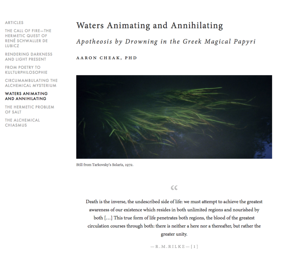 Waters Animating and Annihilating - Apotheosis by Drowning in the Greek Magical Papyri, AARON CHEAK, PHD
