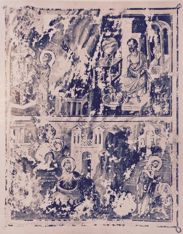 'Vie et martyre de S.Cyprian' from H.Omont,Miniatures des plus anciens manuscripts grecs de la Bibliotheque nationale du VIe au XIVe siecle, p.XLVII