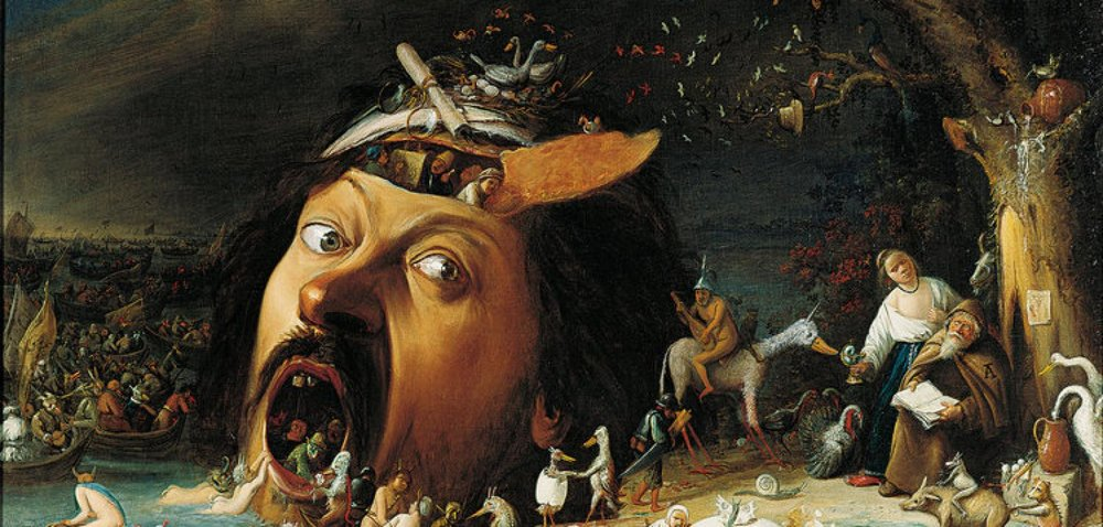 About 1650 - The Temptation of St.Antonius by Joos Craesbeeck: St.Antonius rests exhausted against a tree. The open mouth of the giant symbolises the doorway to hell. Or maybe it is just a magician letting the spirits walk right through them?