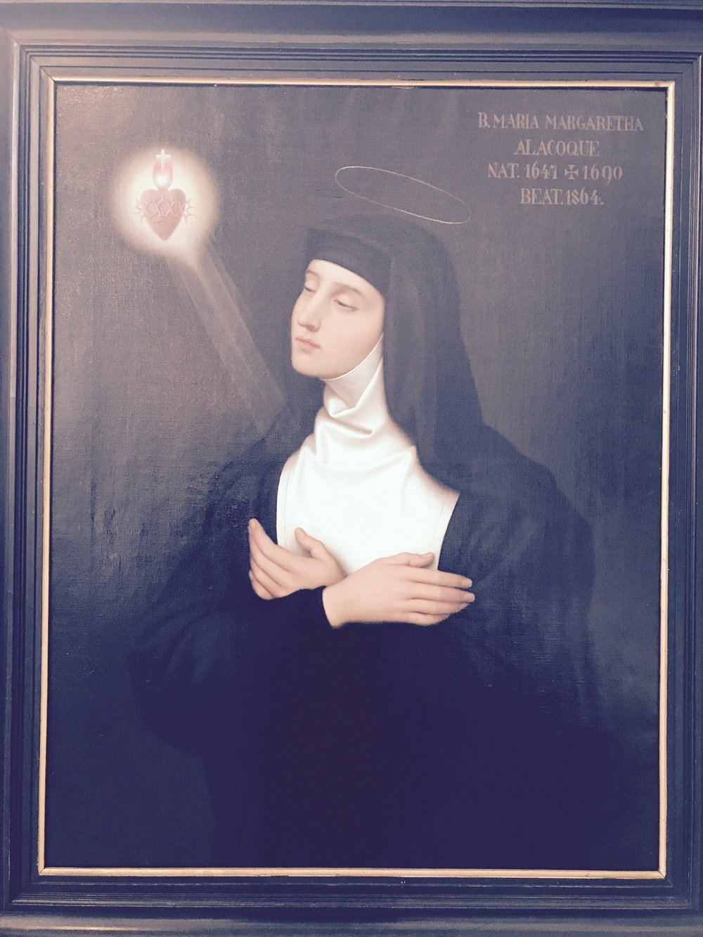 painting of Margareta Maria Alacoque, a French 17th century nun and mystic