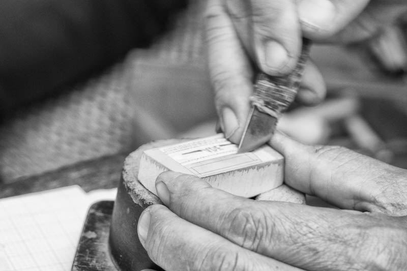 carving stamps in the Old Quarter