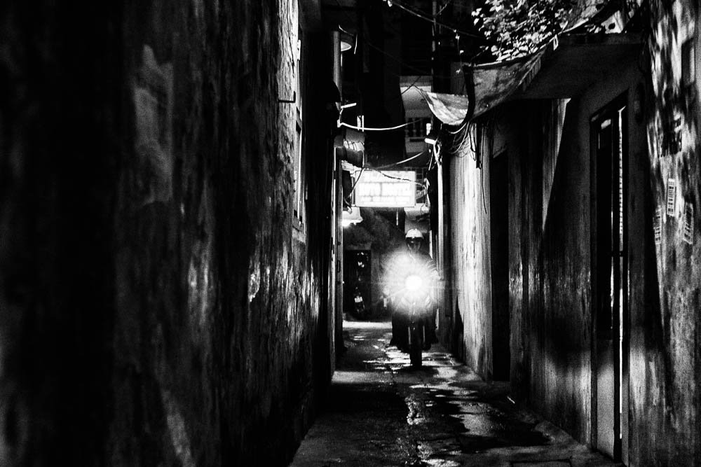 narrow alley at night