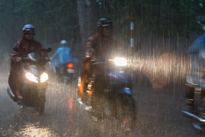 Motor bikes in Heavy rain