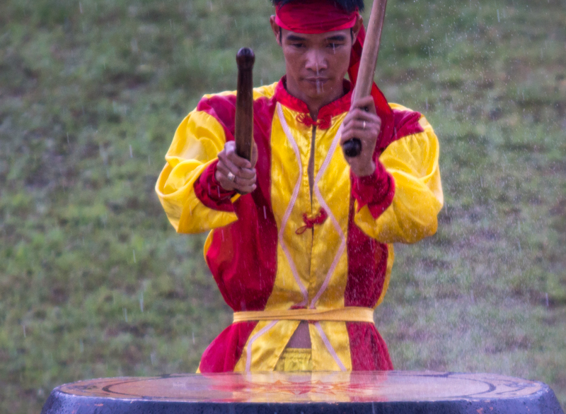 Drumming in the rain at the opening ceremony