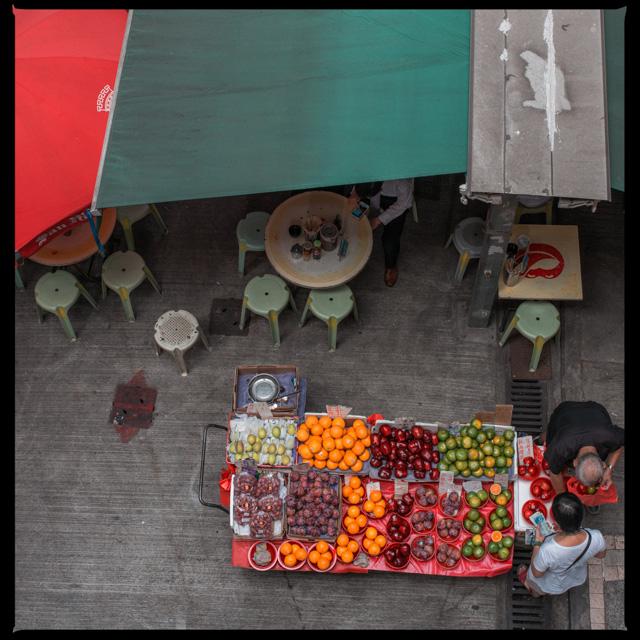 Fruit stall near the longest escalator of Hong Kong