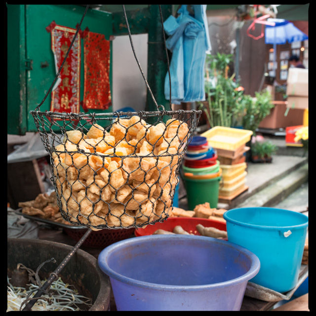 a stall with soy beans, tofu and alike