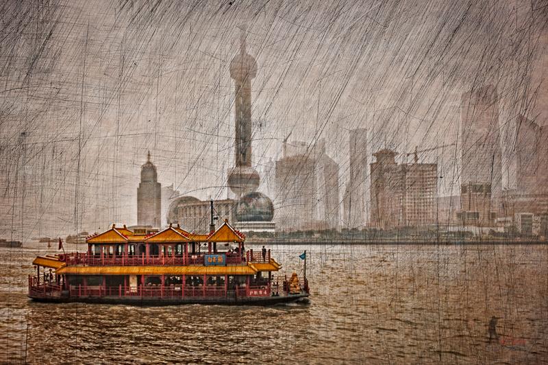 The river running through Shanghai seen from the Bund.