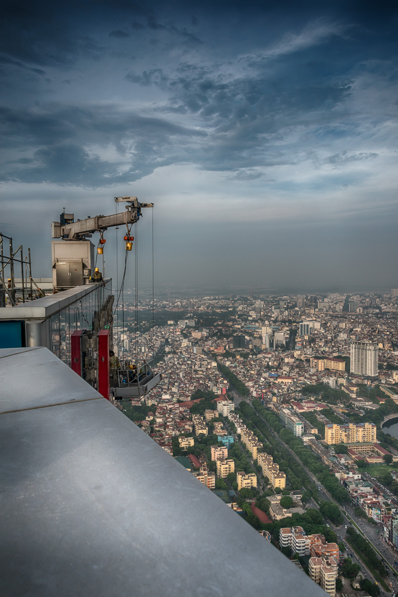 High on a roof  over the City of Hanoi. Up to now the tallest roof.