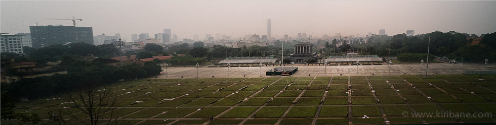 Ho Chi Minh Mausoleum seen from the roof of the new parliament