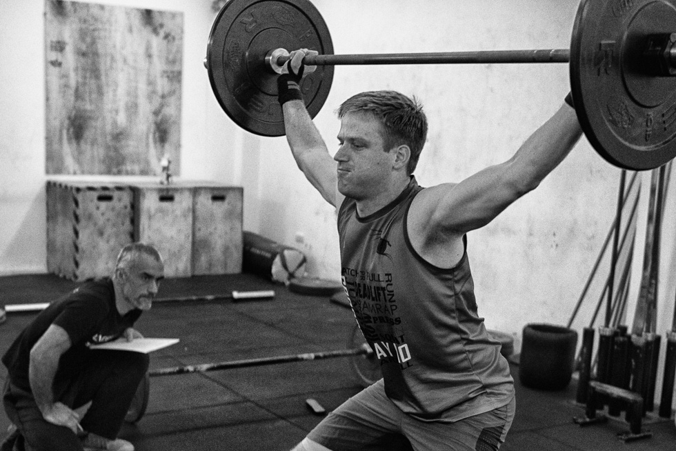 Concentrating to squat as it should be.
